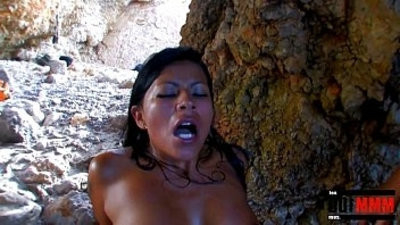 Perfect latin pornographystar Yoha Galvez fucked on real hard at the beach by two guys