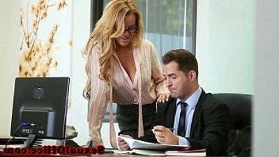 Busty slut office secretary banged over the table