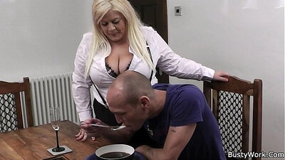 Busty dirty blonde girl in stockings bangs her boss after working
