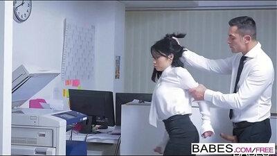 Brunette secretary taming in the office