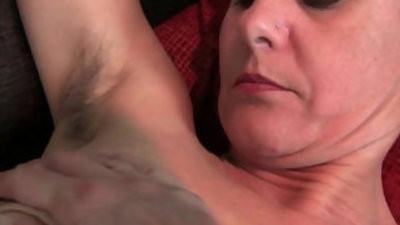 Hairy granny with long and hard nips
