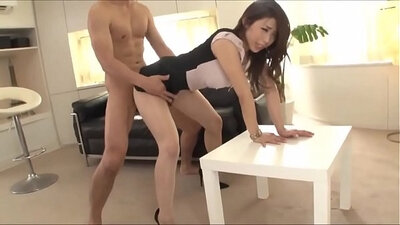Busty japanese boss perfect body banging with worker at office