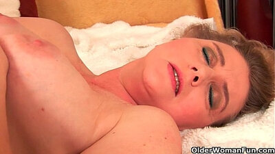 Busty Amia molds cock before getting dildo in her hairy pussy