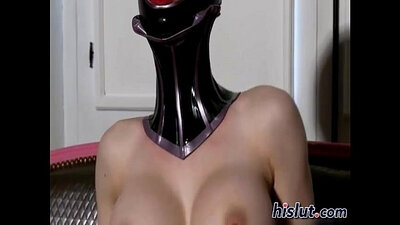 Sweet mature lady in hot latex rides a knob