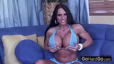 Busty cutie sucking massive dick and bating on sofa