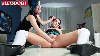 Pretty lesbians being taught in rod bondage and punishment