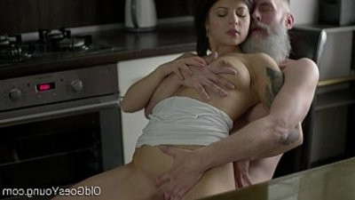 Old Goes Young Sexy brunette Gerra and her man