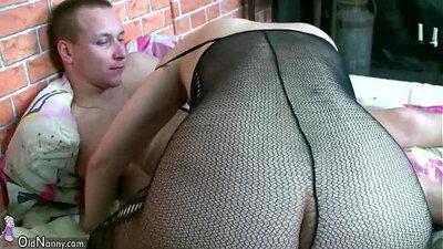 Big tit granny bangs young titbian babe