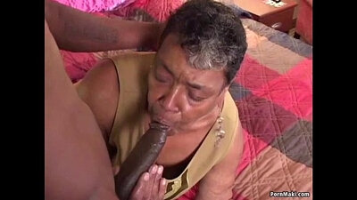 Grandma pounded by a hard black cock dick