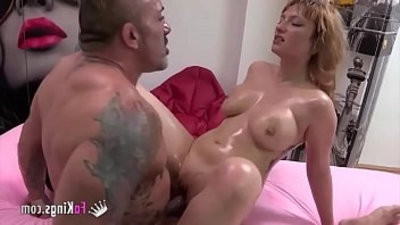 buxomy babe Lucia Fernandez has hardcore with a walking muscle mountain