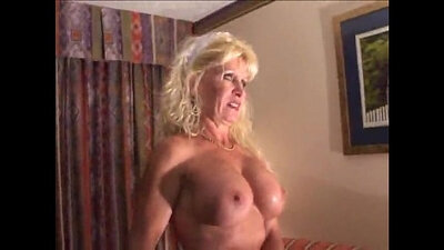 Curvy and busty blonde milf interracial with two mature guys