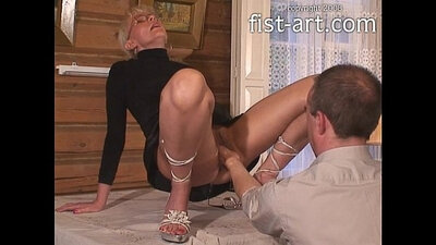 Tied up double fisting victim deepthroat!