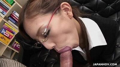 japanese slut loves eat cum from fat white dick