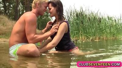 Busty proggy teen Melanie Topless on the Beach