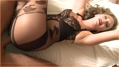 Chastityfully fucked mistress fucked by BBW in pantyhose