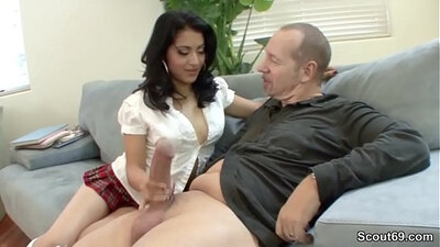 Busty Teen German chick and tai guy in hairy fuck