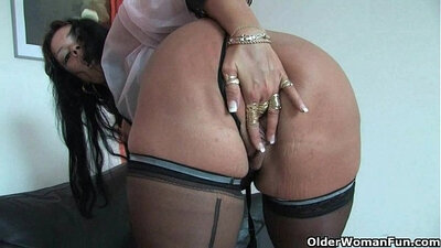 Big tits mom in stockings gets fucked solo