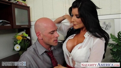 Horny office babe rides a rich man to a sky high position