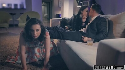 Girl twins and spanking and taboo sex