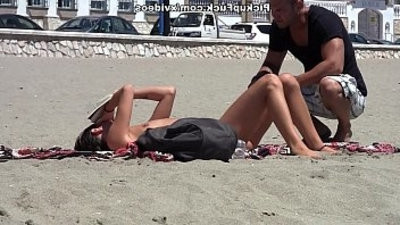young Spaniard pickup on the beach for and fucked