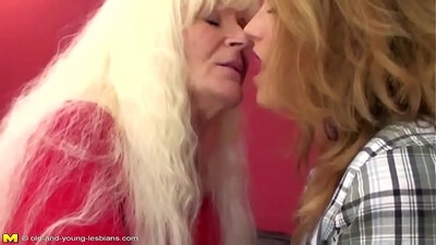 Lesbian granny pegging her young man