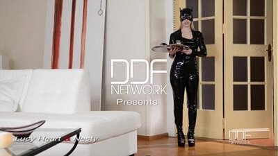 anal fucking femdom restrained in latex chains obeise