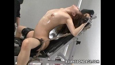 Asian slut clobbered by cruel dicks