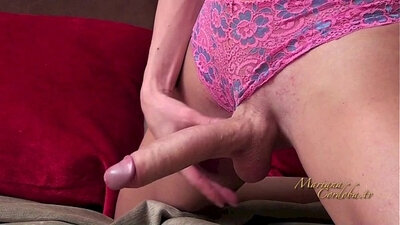 Big Titty shemale cutie toying her twat with dildo