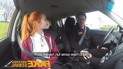Fake Driving School lovely crimsonhead Ella Hughes fucks and capture instructors cum