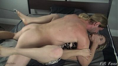 Big tit mom rides her sons hard cock