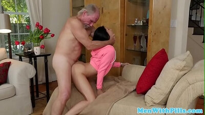 Teen takes two cocks in with big boobs