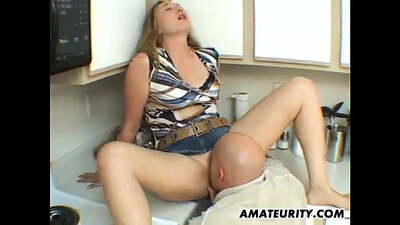 Naughty amateur wife sucks and fucks from the kitchen