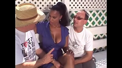 Wife Giving Head Takes Three Black Cocks