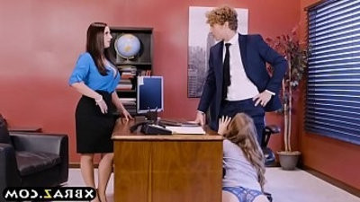Office threesome action tape with two chiefes and a sexy employee