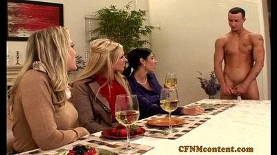 CFNM bitches sharing cock at new bash