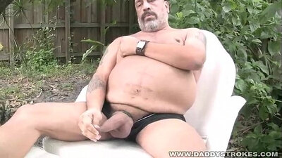 Chubby mature guy jerking off his dick