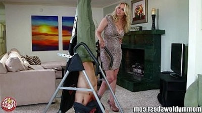 MommyBB Busty blonde MILF Julia Ann is sucking my tied up boyfriend!