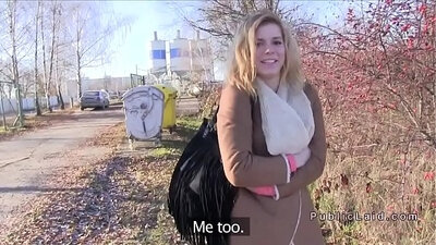 Amateur Czech Blonde Giving Head Outdoor