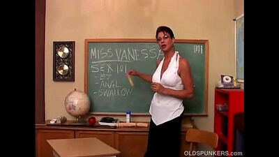 Busty MILF Vanessa Videl gives her man a nice dick stroking