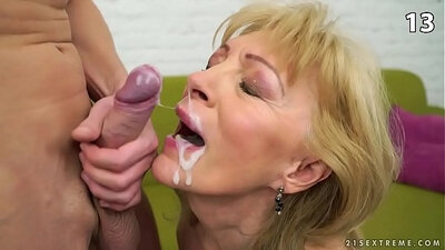 MMF Blonde Granny Facial Cumshot