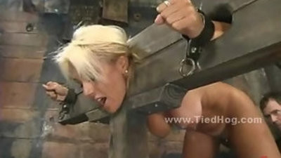 Busty inexperienced blonde D s with sexy sack of babymakers bdsm