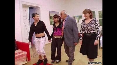 Big tite babe grabs grandpa cock
