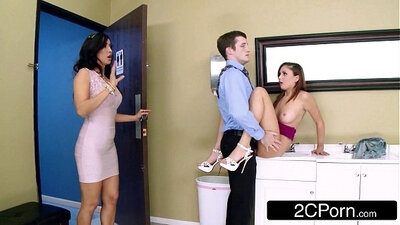 Blonde pounded BAREBACKS star in FFM threesome in their office