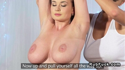 Busty lesbians play tennis and touch their boobs in massage parlor