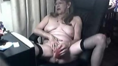 Pervert cute granny having joy at computer. amateur