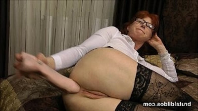 Mature secretary prolapses from big brutal dildo