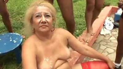 Brazillian groupbang granny