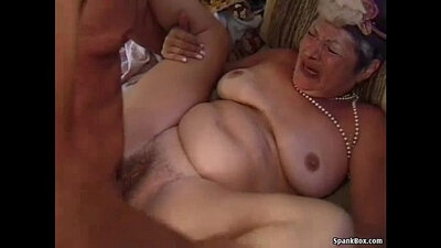 Young Sofa Granny Bust Stretching Panties