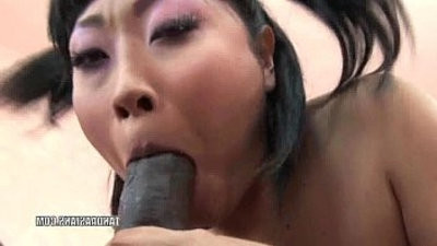 Asian slut Yuki Mori takes big black monster dick in her twat