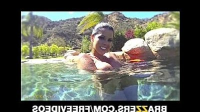 Curvy Latina Diamond Kitty is fucked very hard in her ass in the pool